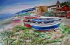 """""""Paesaggio con barche"""" olio su tela 70x50 1985"""